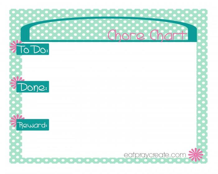 GirlChore Chart green1