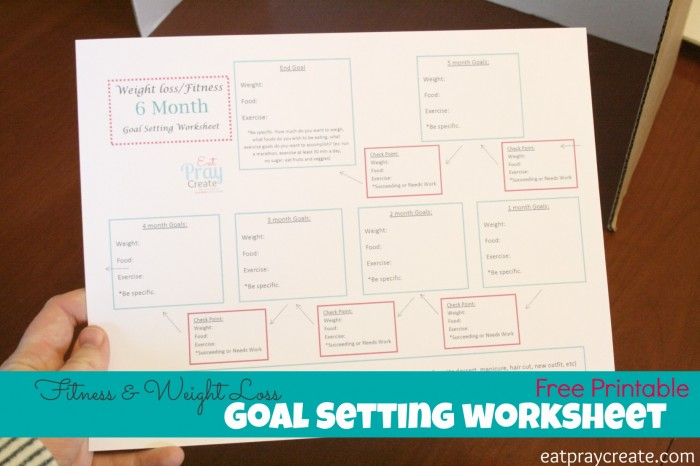 Health and Fitness Goals Printable Worksheet Eat Pray Create – Fitness Goals Worksheet